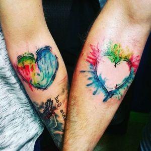 tatuaje acuarela pareja
