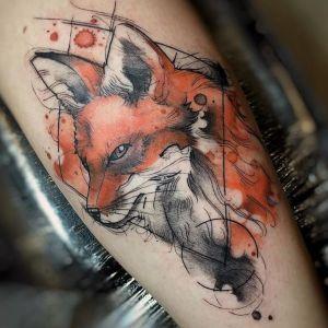tatuaje acuarela zorro