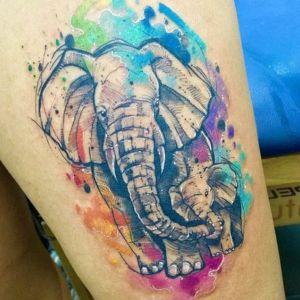 tatuaje watercolor elefante