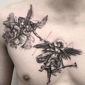 tatuajes de angeles en el pecho