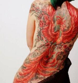 tatuaje grande de ave fenix