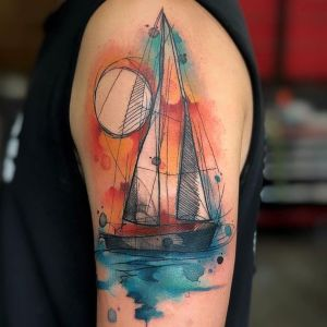 tatuaje acuarela de barco