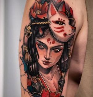 tatuaje neotradicional mujer
