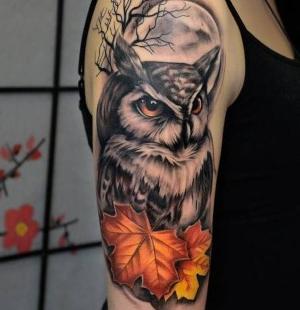 tatuaje chido de buho