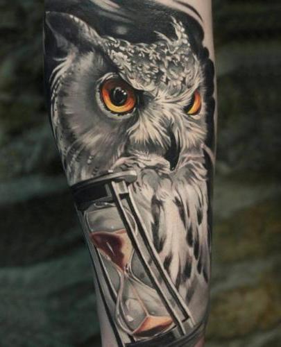 tatuaje de buho realista