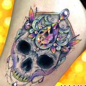 tatuaje calavera joya