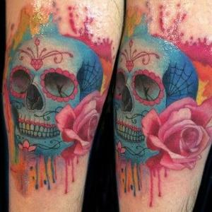 tatuaje de calavera watercolor
