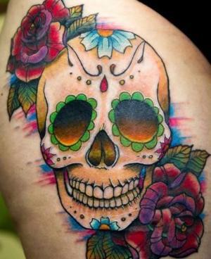 tatuaje lindo de calavera