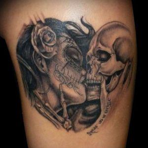 tatu de catrina y calavera