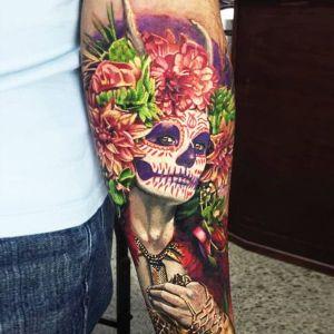 tatuaje de catrina en el brazo