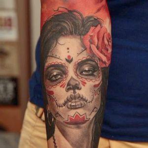 tatuaje de catrina para hombre