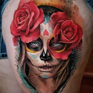 tatuaje expectacular de catrina