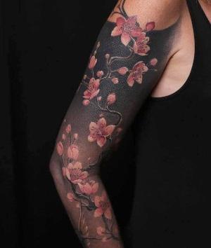 tatuajes bonitos de flor de cerezo