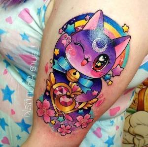 tattoo gato a color