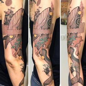 tatuaje de ballena y buzo