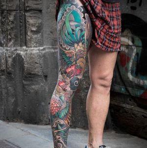 tatuaje japones pierna