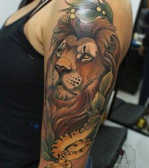 tatuaje de leon neo tradicional
