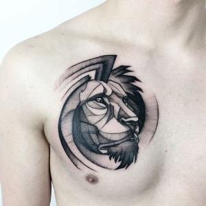tatuaje en el pecho de leon