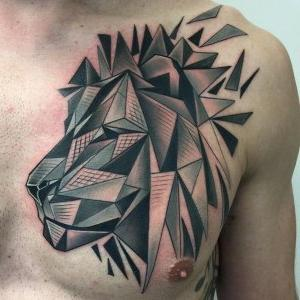 tatuajes leones geometricos