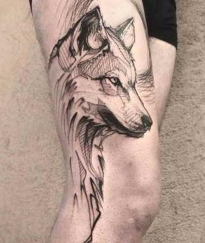 imagen de tatuaje de lobo