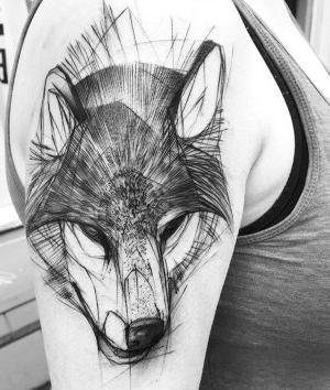 tatuaje lobo bosquejo