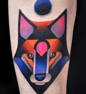 tatuaje lobo psicodelico