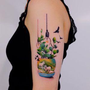 tatuaje hermoso brazo mujer