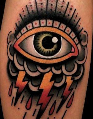 tatuaje de ojos old school