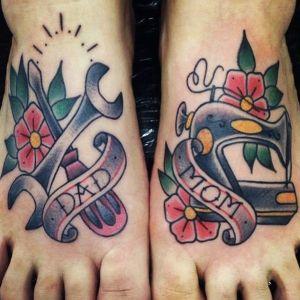 tatuajes old school en pies