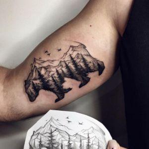 tatuaje de osos paisaje