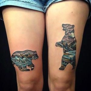 tatuaje de osos piernas