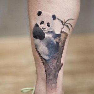 tatuaje en la pierna de oso panda