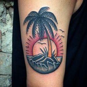 tatuaje de palmera de la vieja escuela