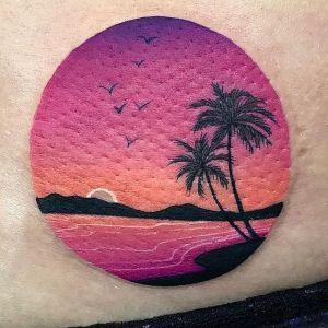 tatuaje de palmeras paisaje
