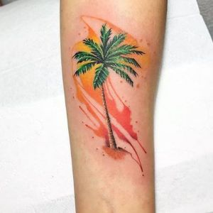 tatuaje watercolor palmera