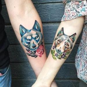 tatuaje para pareja de perros