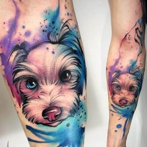 tatuaje de perro watercolor