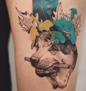 tatuaje original de perro