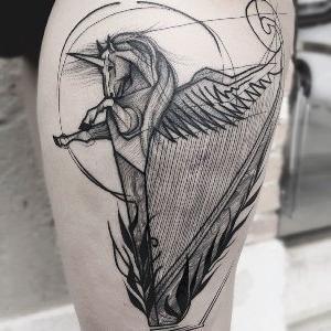 tatuaje esbozo pierna