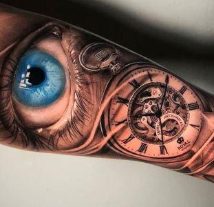tatuaje de reloj y ojo