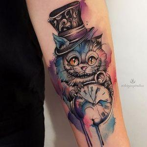 tatuajes de reloj y gato