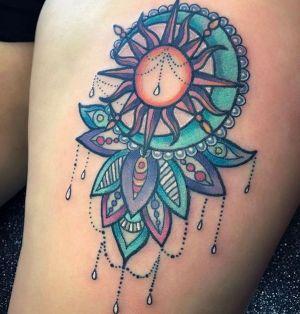 tatuaje sol y luna a color