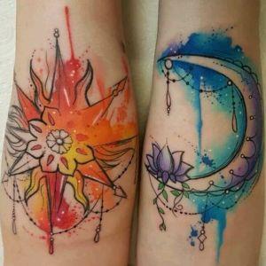 tatuajes sol y luna acuarela