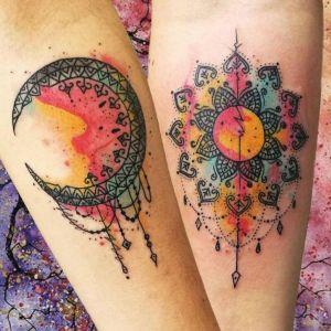 tatuajes sol y luna watercolor