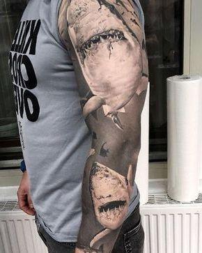 diseño de tatuaje de tiburones
