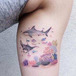tatuaje de tiburon y manta