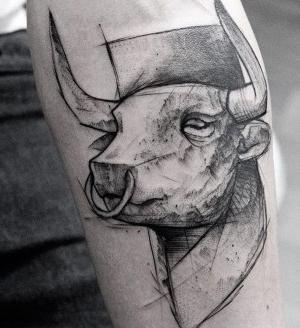 tatuaje bosquejo de toro